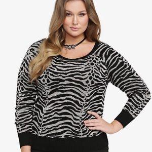 Torrid Black & Gold Shimmery Zebra Sweater
